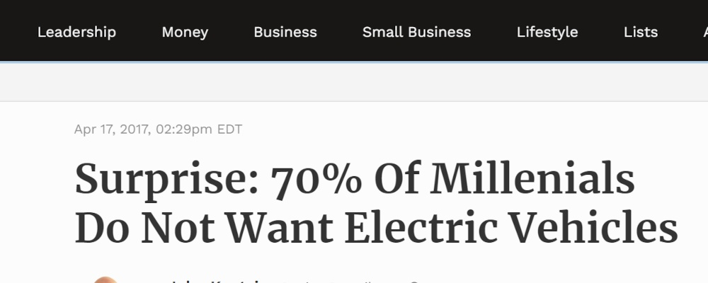 millenials vehicles news article showing numbers in headline copywriting