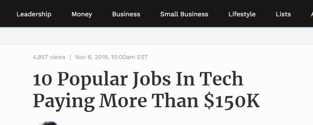 tech jobs news article showing numbers in headline copywriting