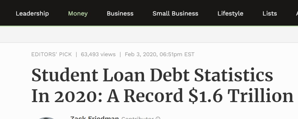 student loan debt news article showing numbers in headline copywriting