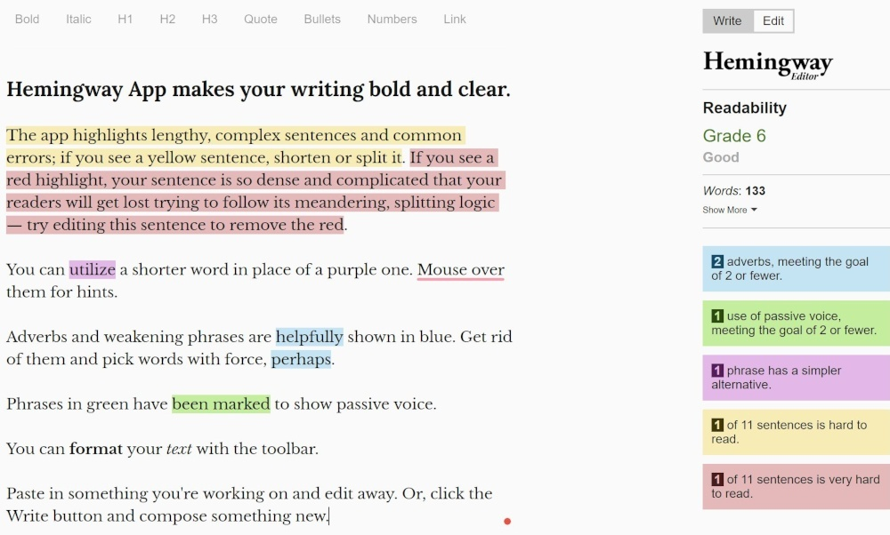 best copywriting tools hemingway app interface