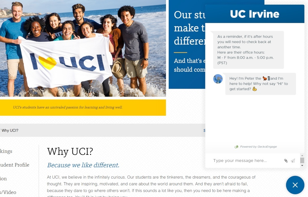 chatbot copywriting for uc irvine