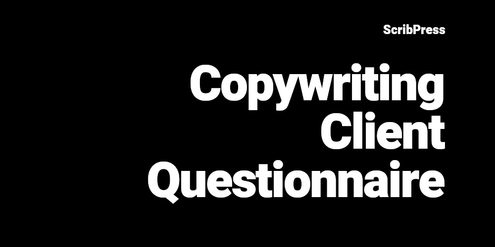 copywriting client questionnaire blog post banner