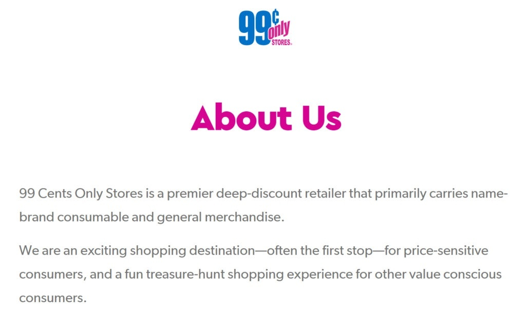 unique value proposition uvp copywriting statement for 99 cents only store
