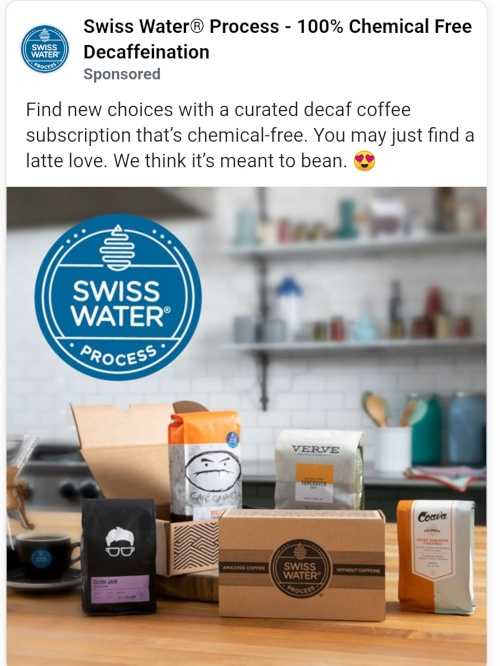 copywriting facebook advert for swiss water process coffee