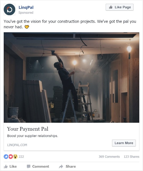 copywriting facebook advert for linqpal