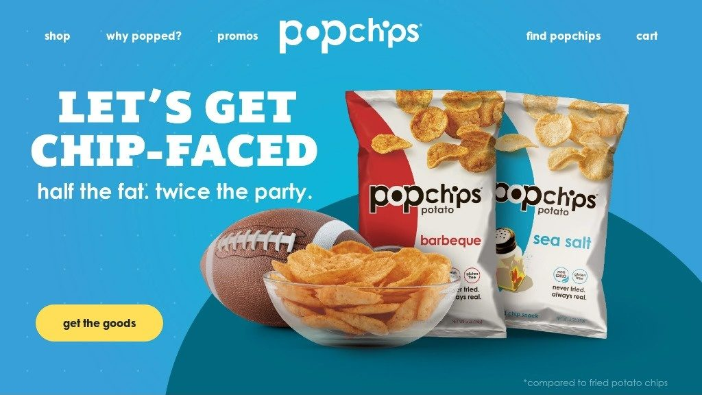 landing page for popchips that has direct response website copywriting